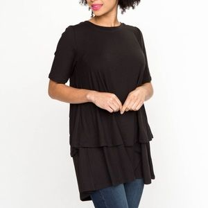 Half Sleeve Tiered Black Tunic Agnes & Dora Large